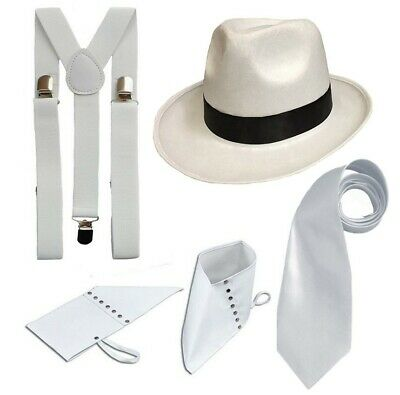 White Deluxe Gangster Set 1920's Fancy Dress Pimp Trilby Spats Braces Tie Adult