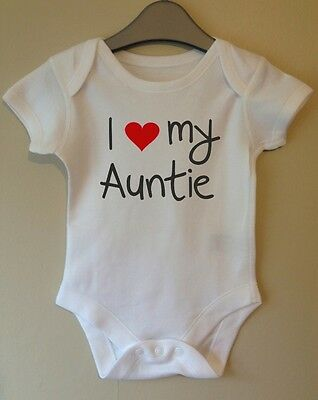 I Love My Auntie Cute Baby Body Grow Suit Vest Girl Boy Clothes Gift Idea