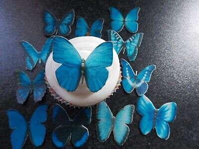 12 Precut Edible Blue Mix(2) Butterflies for cakes and cupcake toppers