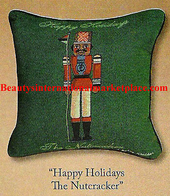 Silver Walker:AFRICAN AMERICAN NUTCRACKER Tapestry Throw Pillow/Fabric/Christmas