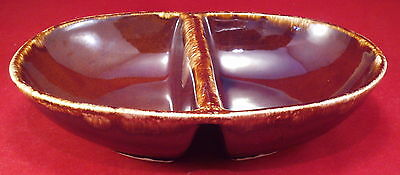 """Kathy Kale Vintage Brown Drip 11 x 7 3/4""""  Divided Oval Dish"""