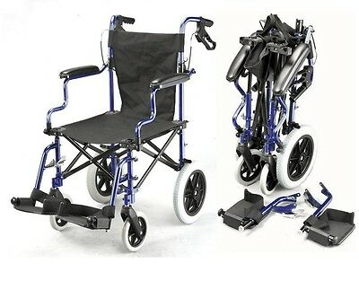 Lightweight folding deluxe travel wheelchair in a bag with handbrakes ECTR04