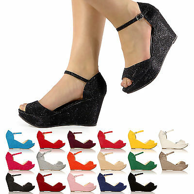 New Women Low Mid High Wedge Heel Pumps Peep-Toe Work Court Shoes Sizes 3-8