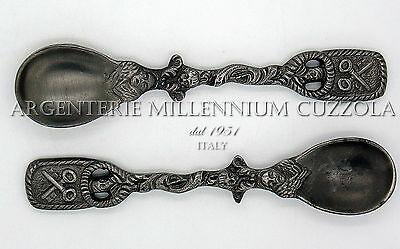 Cucchiaino Peltro Angeli Chiavi San Pietro Pewter Spoon Angels St Peters'keys