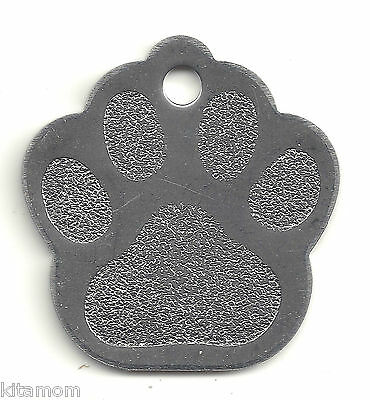 Stainless Steel Large/Medium K-9 Dog Paw Print Pet Personalized ID Tag