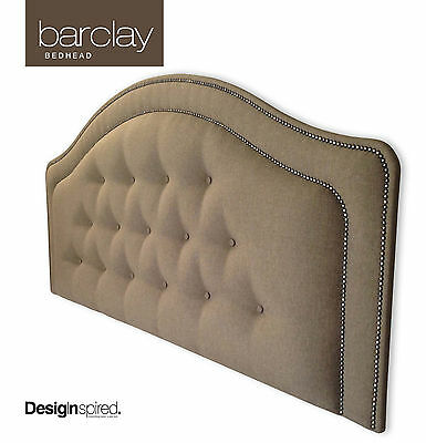 BARCLAY Upholstered Bedhead / Headboard for Queen Ensemble - Driftwood