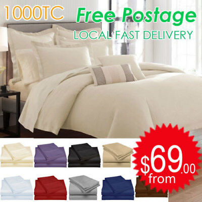 1000TC EGYPTIAN COTTON AUS Size Quilt Cover or Sheet Set Flat,Fitted,Pillowcases