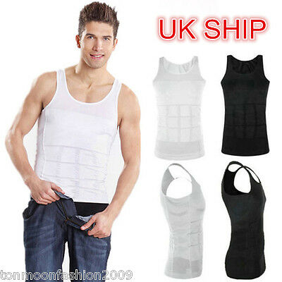 Mens Chest Tummy Slim Control Shaperwear Vest Support Sliming Body Shaper Vest