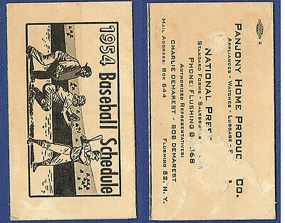 1954 Brooklyn Dodgers Ebbets Field Schedule RARE jackie robinson koufax snider