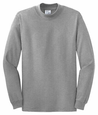 Port & Company by Hanes Mens New 100% Cotton Long Sleeve Mock Turtleneck T-Shirt