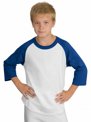 Sport-Tek New Boys Youth Colorblock Raglan Jersey Baseball Shirt XS-4XL. YT200