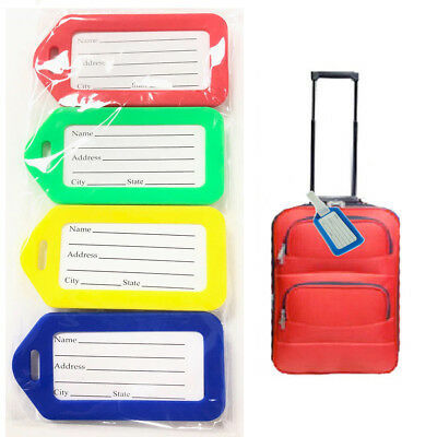 4* Luggage Tags Suitcase Label ID Identify Traveling Bag Holiday Plastic Address
