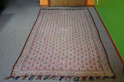 "Antique Kashmir Paisley Printed Shawl W/ Colorful Pastel, 19th C,  (124"" X 64"")"