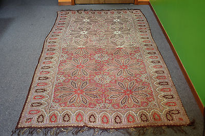 Antique Kashmir Paisley Crinoline Shawl Print, Dual Color Center, 18th Century !