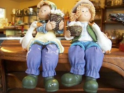 2 Shelf Sitter Figurines -Boy and Girl with Ducks/Geese.,,,Straw Hair.. 7 inches