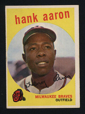 1959 Topps ~ #380 ~ Hank Aaron ~ Milwaukee Braves Outfield ~ Hall Of Fame Member