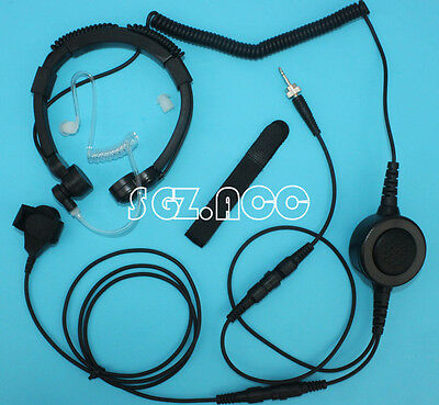BIG PTT Military Tactical Throat Mic Headset/Earpiece For Uniden UHF CB Radios