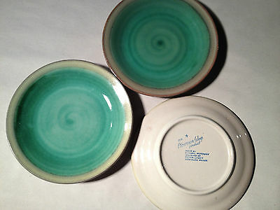"""(3) STANGL 6 1/4"""" PLATES, GREEN, TAN, AMERICAN WAY, MADE IN NEW JERSEY, USA"""