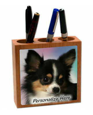 Chihuahua  long hair   tri color  ( 18 )   Personalized  Pencil and Pen Holder