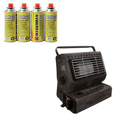Portable Gas Heater Plus 4 Gas Refill Cannisters Camping Outdoor Lightweight