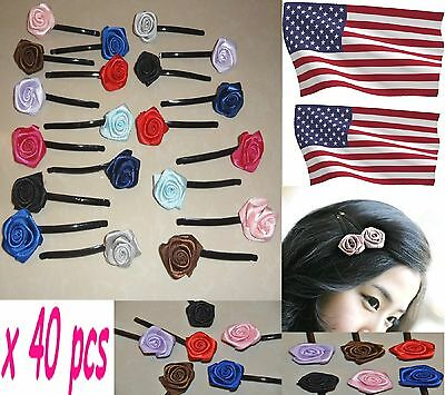 40 pcs lot wholesale Girls/woman Ladies Rose Flower Hair Pin Clip Barrettes-USA