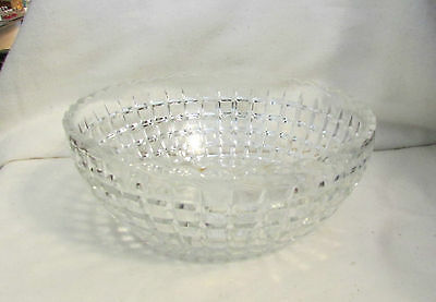 "HEISEY GLASS BLOCK PATTERN SCALLOPED EDGE  8"" SERVING BOWL.. EXC"