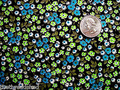 4 Yds Vintage Cotton Quilt Fabric Calico Mint Green Blue Black White Flowers 36W