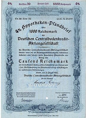 Germany Deutsche Centralbodenkredit-AG bond of 1000 RM Berlin 1942 Pfandbrief