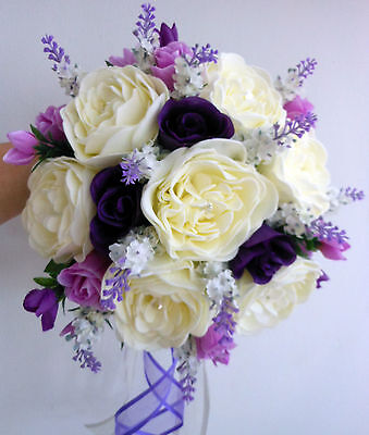 Brides Wedding Bouquet,  ivory foam peonies, purple & pink rose buds & lavender