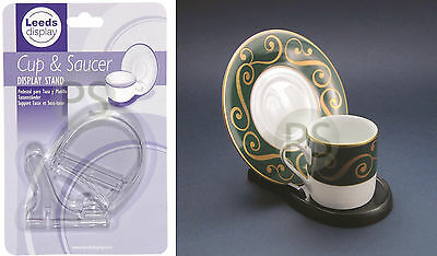 Cup and Saucer Plate Stand /Tea Set Display Stand in Black & Clear Plastic