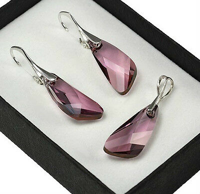 925 Silver Earrings//Set made with Swarovski Crystals 19mm GALACTIC ANTIQUE PINK