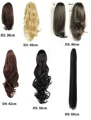 Blk Brown Blonde Curly Flick Straight Wavy Clip On Ponytail Extension Hair Piece