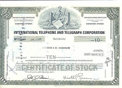 USA Amerika ITT International Telephone Aktie 19.4.1973 ausgestellt A.G. Becker