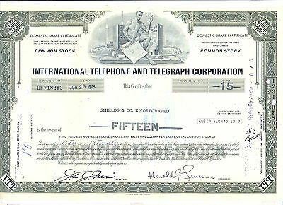 USA Amerika ITT International Telephone Aktie 26.6.1973 ausgestellt auf Shields
