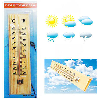 Outdoor Wall Hanging Wooden Thermometer Temperature House Garden Room Hang C & F