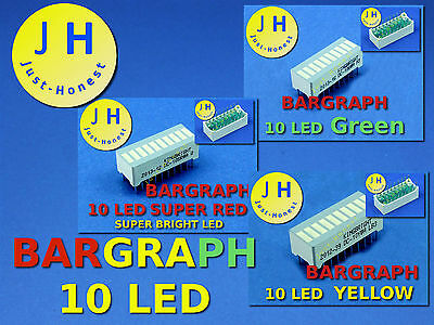 LED ANZEIGE BALKENANZEIGE 10 LED BARGRAPH Rot / Grün / Gelb Red / Green /Yellow