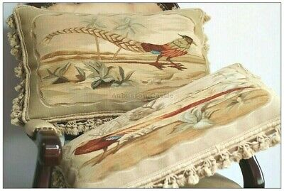 """A MATCHING PAIR! 22"""" PHEASANT Aubusson Tapestry Pillow Cover Vintage French Wool"""