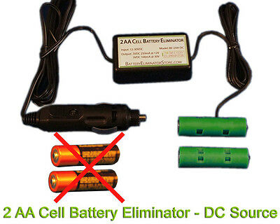 AA Battery Eliminator Power Adapter - 3VDC 2AA -Universal Fit 12VDC/24VDC source
