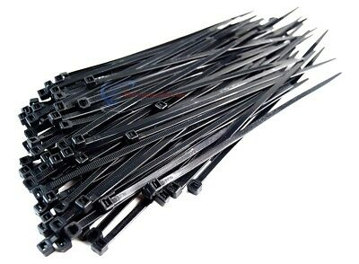 "1000 Pieces 7"" Black Nylon Cable Zip Wire Ties Up to 50 Lbs (10 Packs of 100)"