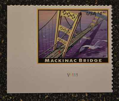 2010USA #4438 $4.90 Mackinac Bridge - Plate Number Single  -  Mint  NH