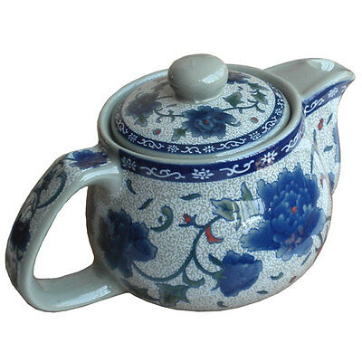 Blue Peony Ceramic Teapot with Infuser Chinese Kung Fu Tea Pot Free Shipping