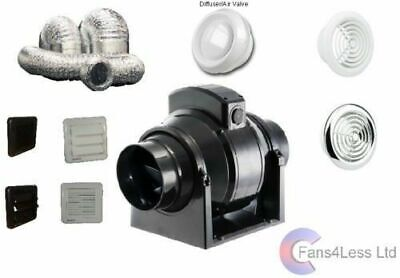 MF100 Bathroom Shower InLine Fan Extractor Std or Timer / With or Without Kit 4""