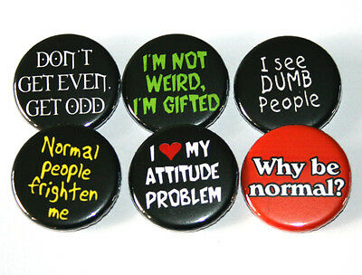 ANTI-SOCIAL SLOGANS Set of 6 BADGES Buttons Pins Lot Punk 32mm