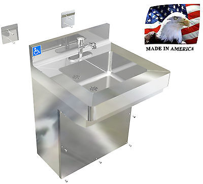 "Ada Hand Sink Hd 24"" 14Ga Stainless Steel Vandal Resistant Prison Security Jail"