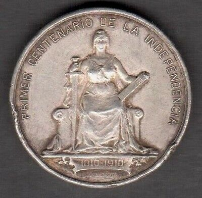 "Chile 1810-1910 Silver Medal ""100 Years Of Independence"" 33 Grams See Pictures"