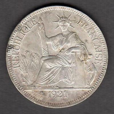 French Indo-China 1921 Silver Piastre Nice Condition See Pictures