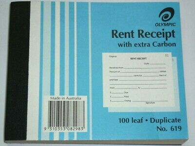 Olympic Rent Receipt with Extra Carbon 100 leaf Duplicate No.619 NEW 100x125mm