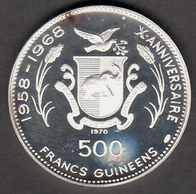 "Guinea 1970 Silver 500 Francs ""iknaton"" Low Mintage 4,180 See Pictures"