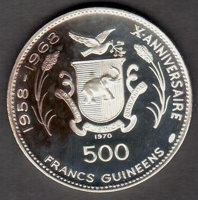"Guinea 1970 Silver 500 Francs ""chephren"" Low Mintage 4,600 See Pictures"