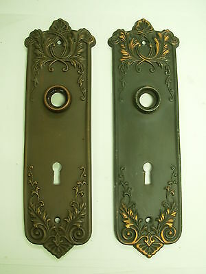 French Lorraine bronze keyed back plates for new or antique doorknobs
